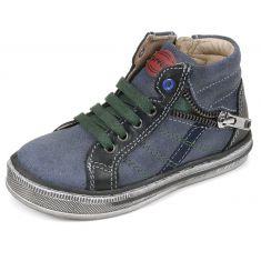 Garvalin Baskets cuir garçon bleu 151462A