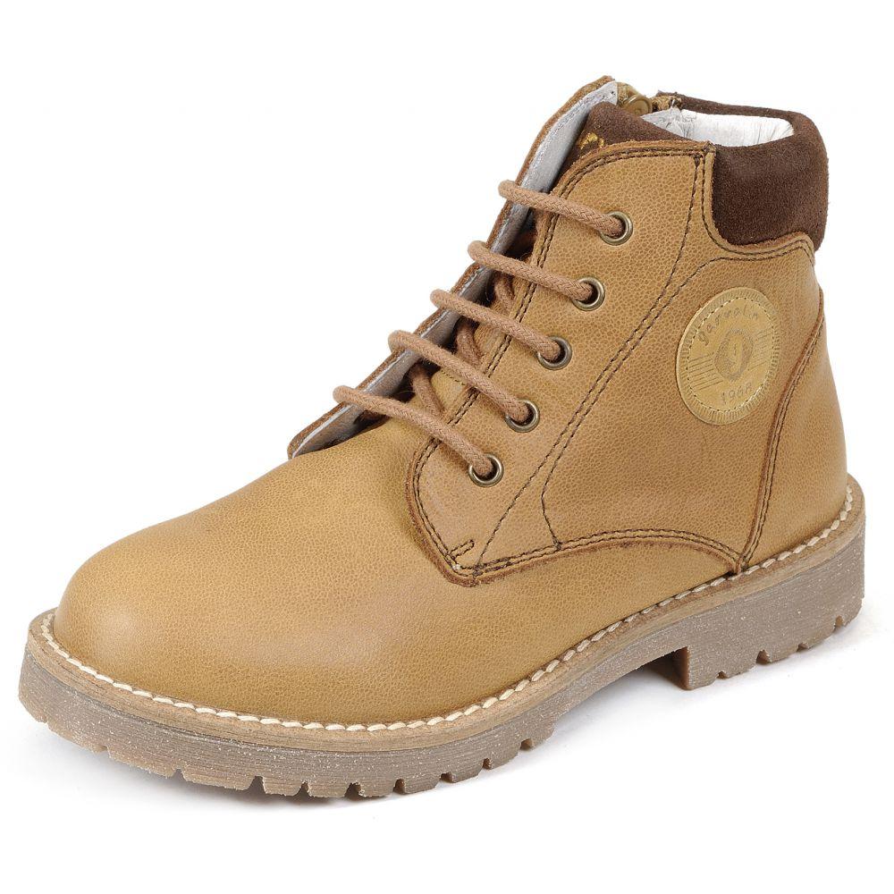 boots en cuir hautes camel cognac à lacets garçon garvalin