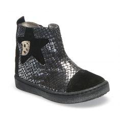 GBB Boots fille cuir noir-argent LIAT