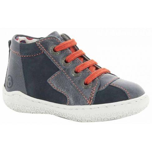 f7a2fe453c2c41 Baskets premiers pas en Cuir gris à lacets oranges garçon - MOD8