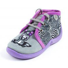 Babybotte Chaussons tissu fille à lacets MAMOUT gris motif zèbre
