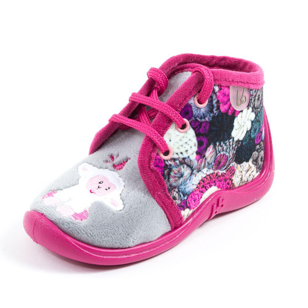babybotte chaussons lacets pour fille rose motif mouton. Black Bedroom Furniture Sets. Home Design Ideas