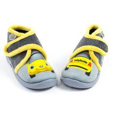 Babybotte Chaussons gris garçon bébé à scratch MANITOU motif voiture
