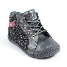 Babybotte Boots à lacets bébé fille FARFADET noir rose