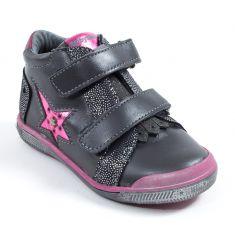 Babybotte Boots en cuir premiers pas fille AVENIR gris rose