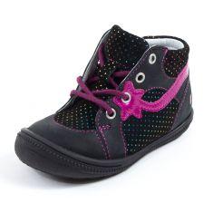 Boots en cuir à fermeture noires et roses NORA GBB