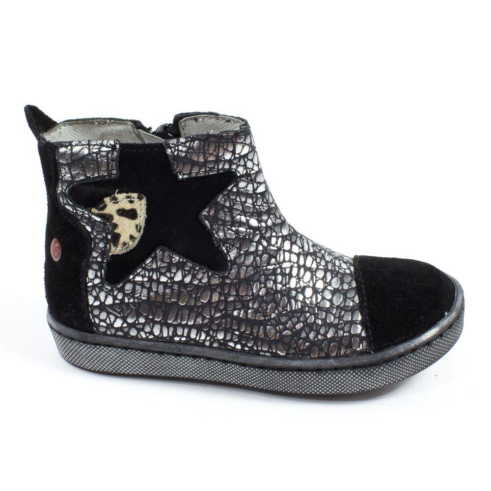 boots premiers pas noir argent fille cuir destockage gbb. Black Bedroom Furniture Sets. Home Design Ideas