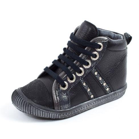 Le Loup Blanc Boots fille à lacets HEMATITE noir
