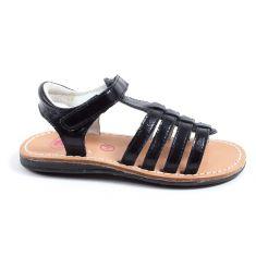 Sandales plates à lanières noires YTONGA TTY