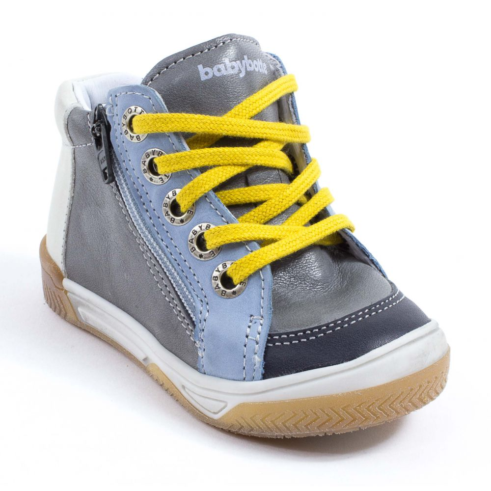 babybotte boots gar on taille 30 pas cher alinea gris et jaune. Black Bedroom Furniture Sets. Home Design Ideas