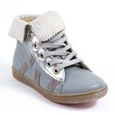 Boots cuir argent ARTIMISS Babybotte à lacets