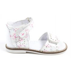 Sandales blanches plates cuir velcro TEODORA3 Babybotte