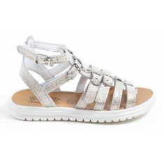 Bellamy sandales/spartiates fille argent beige AVRILLE