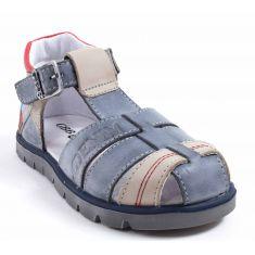 Sandales garçon GBB PELAGE gris - semelle cuir