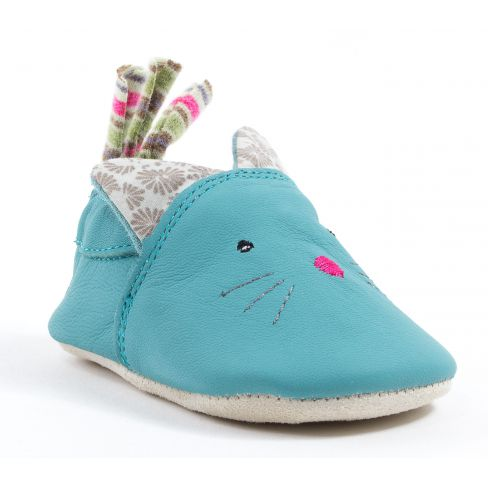 Babybotte Moulin Roty Chaussons bébé fille cuir CHAT