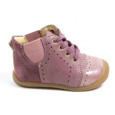 Babybotte Chaussure de bébé debout fille en cuir et à lacets FEDORA vieux rose