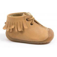 Chaussures prewalker - Babybotte bottines à franges bébé fille à lacets ZIPY beige 4 pattes ZEN
