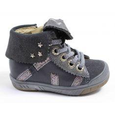 Chaussures fille hiver - Babybotte Boots à lacets fille ARTISTAR GRIS