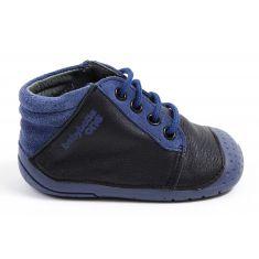 Chaussures bébé - Babybotte ZESTE Bottines garçon à lacet 4 pattes noir/bleu