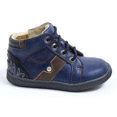 Boots cuir bébé garçon GBB à lacets bleu REGIS