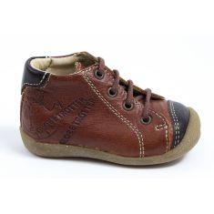 GBB Boots garçon pas cher à lacets marron NOE