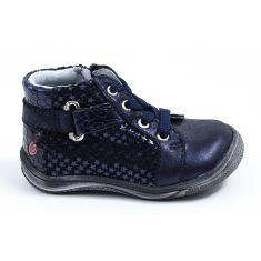 GBB Boots cuir fille bleu à fermeture RICHARDINE