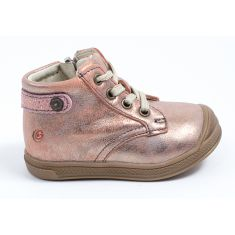 Chaussures GBB Bottines fille cuir rose cuivré à fermeture REGINE