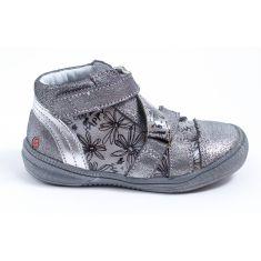 GBB Boots fille cuir gris argent à velcro RADEGONDE