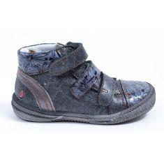GBB Boots fille cuir gris bleu imprimé à velcro RAFAELE