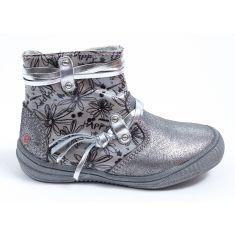 GBB Low boots fille cuir gris argent REVA