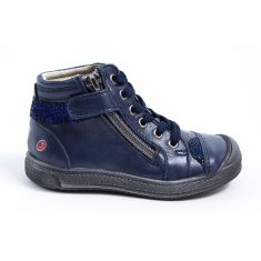 GBB Bottines fille cuir bleu marine à fermeture DESTINY