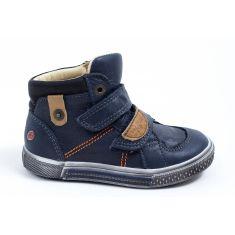 GBB Baskets montantes cuir bleu à scratchs pour garçon RANDALL
