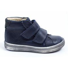 GBB Baskets montantes cuir bleu à velcro pour garçon NAZAIRE