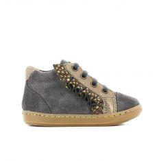 Shoo Pom BOUBA FRIFRI - Boots fille gris et or avec fermeture