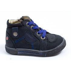 Chaussures garçon - GBB Baskets cuir noir à lacets bleus et fermeture RAYMOND