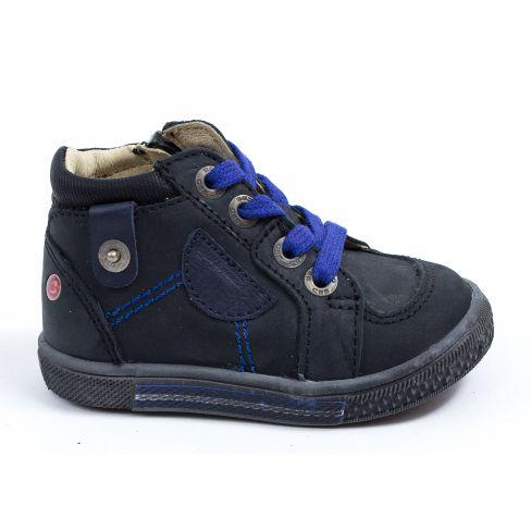 bd38239141a8f Chaussures garçon - GBB Baskets cuir noir à lacets bleus et fermeture  RAYMOND
