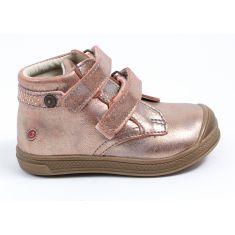 Bottines GBB cuir rose poudré or à scratch RACHEL - Chaussures fille
