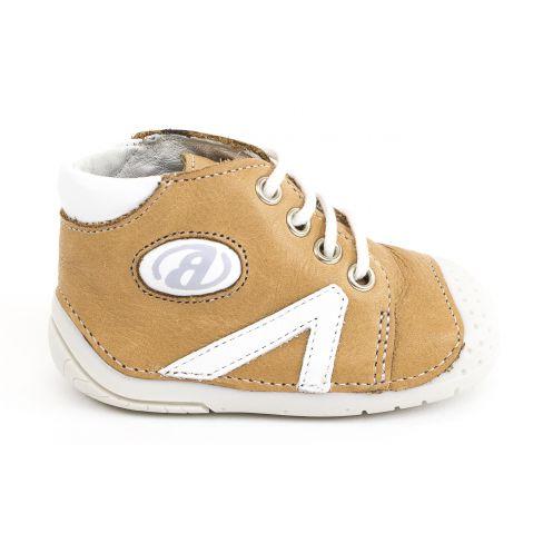 Babybotte chaussures bébé debout garçon B1 à lacets beige miel