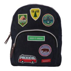 BACKPACK MINI jean & patches (dark blue/camping)