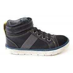 Baskets montantes garçon NOEL - Chaussures enfant cuir noir VIKEN