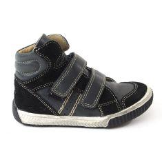 Baskets montantes ZEM velcro garçon NOEL - Chaussures enfant cuir noir