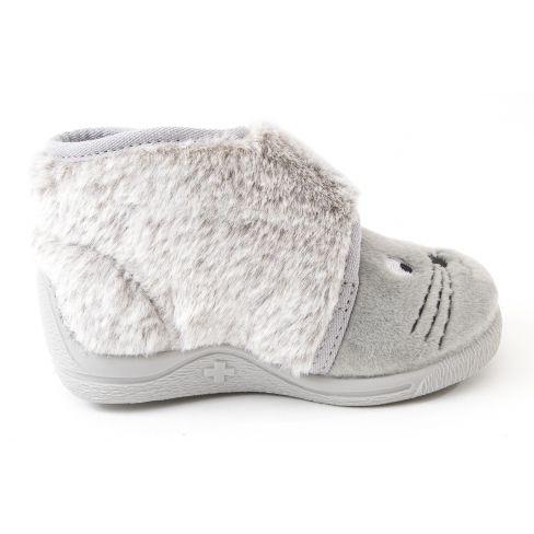 Bellamy Chausson bébé fille tissu à velcroTOR gris