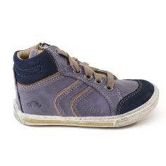 Baskets montantes garçon NOEL - Chaussures enfant cuir bleu RUBEN