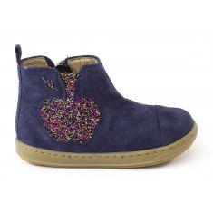 Shoo Pom Boots fille cuir bleu à franges BOUBA APPLE