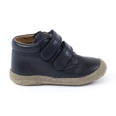Boots cuir Froddo à scratchs garçon - Chaussant fin 1er pas bébé garçon bleu marine - pieds fins