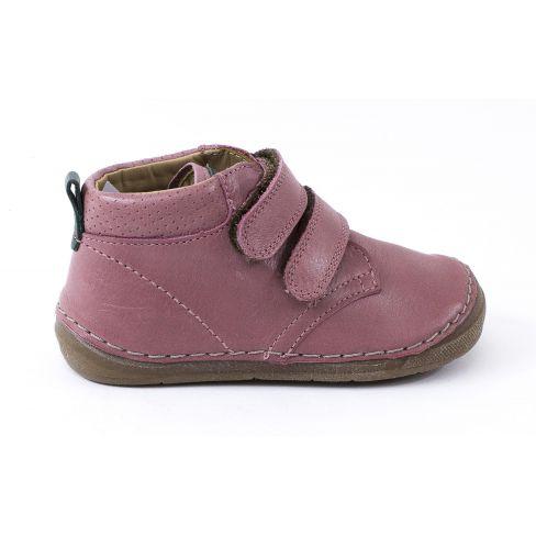Froddo Boots cuir à scratchs fille rose pale - Chaussant large 1er pas bébé fille