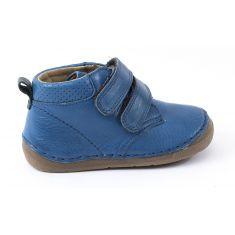 Boots cuir à scratchs garçon bleu Froddo - Chaussant large 1er pas bébé