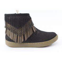 Shoo Pom Boots fille cuir noir à franges PLAY HURON