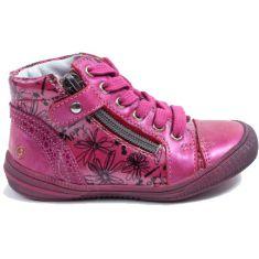 Chaussures enfant - GBB Bottines fille cuir rose foncé à fermeture RACHIDA
