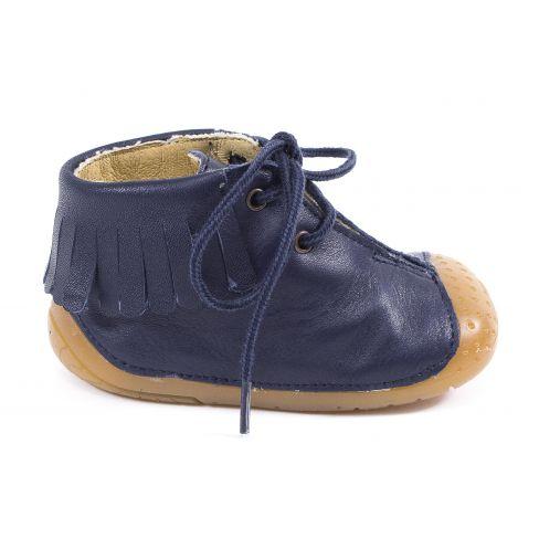 Chaussures prewalker - Babybotte bottines à franges bébé fille à lacets ZIPY bleu marine 4 pattes ZEN